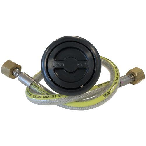 Gaslow External LPG Filler kit Black with Stainless Steel hose