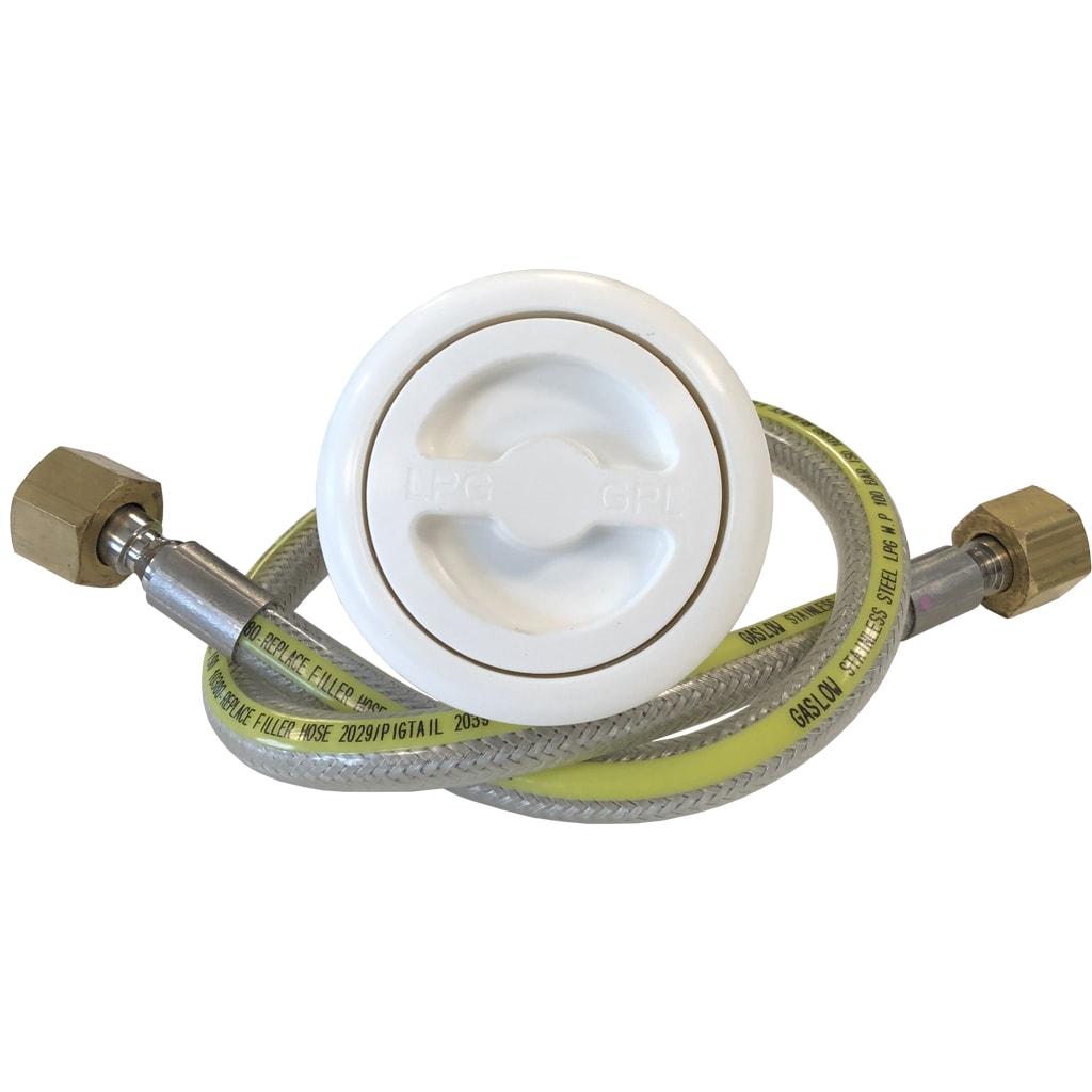 Gaslow LPG Filler kit White with Stainless Steel hose