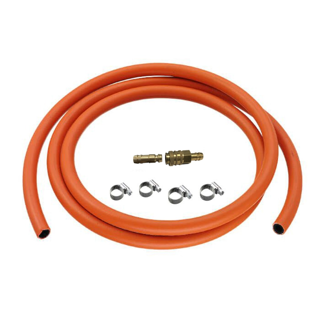 Quick coupling gas hose kit with high pressure Hose and clips